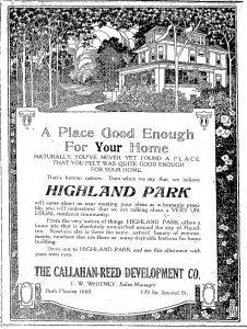 July 1919 Advertisement for Highland Park.