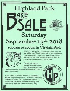 Highland Park Bake Sale flyer.