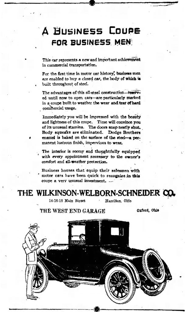 An early ad for Welborn's Dodge dealer from July 1922 in The Hamilton Evening Journal.