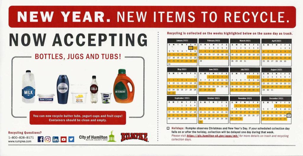 2021 Hamilton, Ohio Recycling Calendar